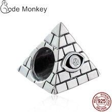 CODEDOG 2020 Neue Pyramide Mit Klar Zirkon Auge Charme Perlen Fit Original Armband 100% Echt 925 Sterling Silber Perlen CMS095