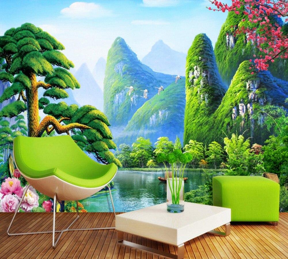Drop Shipping Guilin Shanshui Lijiang Welcome Guest Song TV Background Wall 3D Custom Wallpaper Living Room Hotel Mural