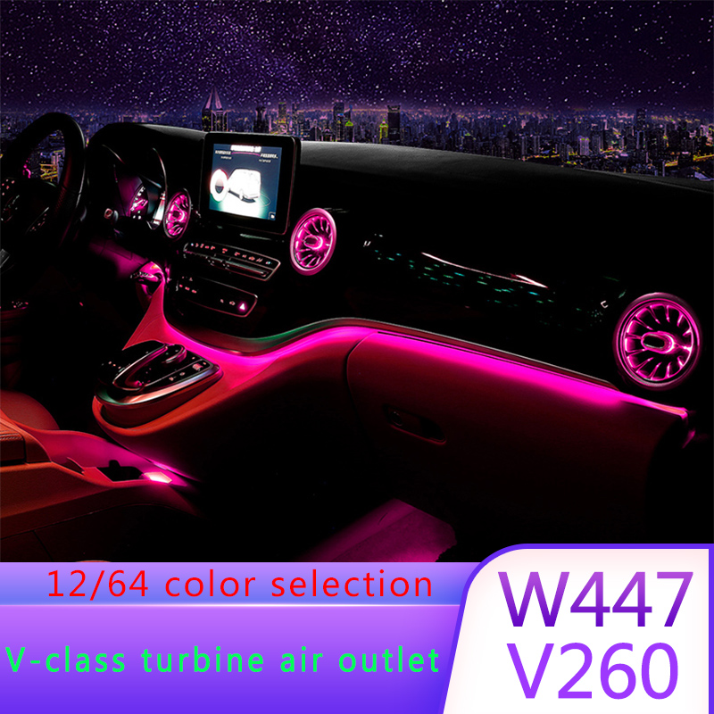 Air vent for Mercedes V class Vito W447 V260 car DIY ambient lamp 12/64 colors LED ambient light illuminated car accessory image