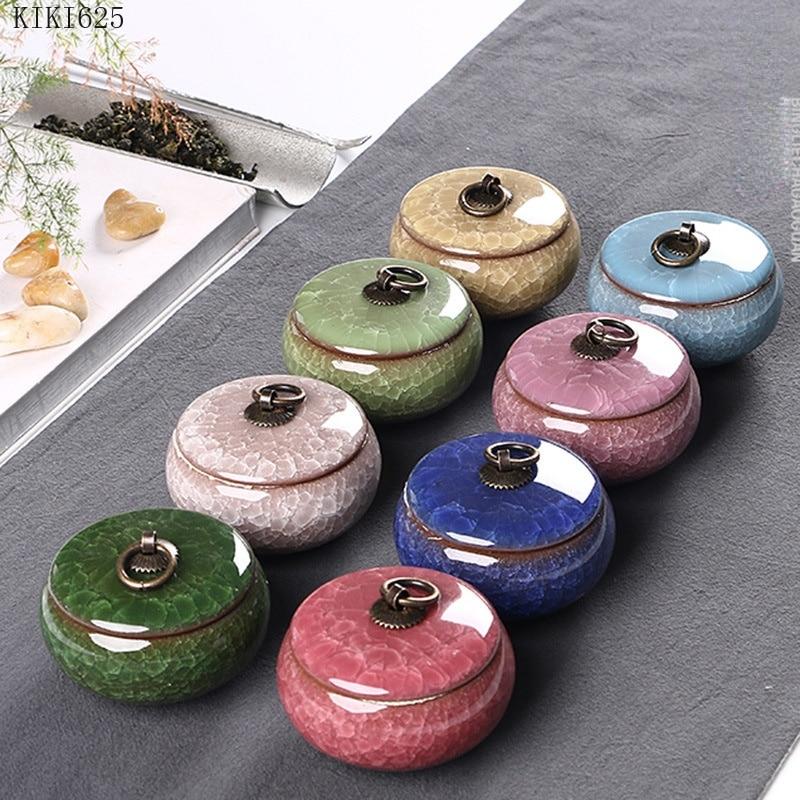 Modern Color Cracked Ceramic Sealed Storage Tank Travel Portable Tea Caddy Tea Set Necklace Ring Jewelry Storage Box Home Decor