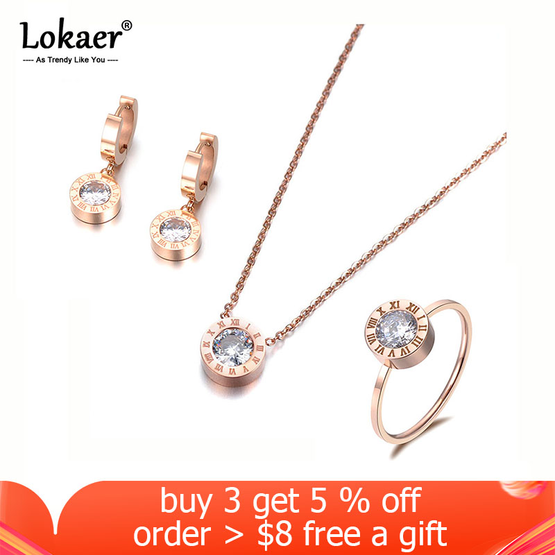 Lokaer Classic Round 2Ct Cubic Zirconia Pendant Necklace Earrings Ring Jewelry Sets Titanium Steel For Valentine's Day SE007R