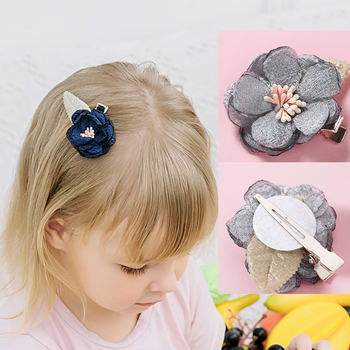 цена на 5pcs/lot Baby Hair Lace Spring Flower with Leaf Clips Newborn Baby Mini Hairpins Hair Accessories Kids Hair Barrettes Girl Clips