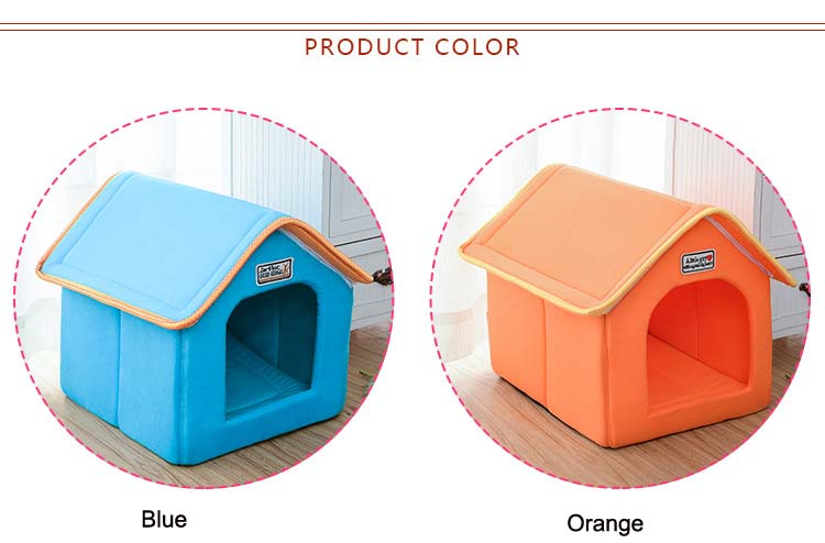 Pet House Foldable Bed With Mat Soft Winter Leopard Dog Puppy Sofa Cushion House Kennel Nest Dog Cat Bed For Small Medium Dogs 2