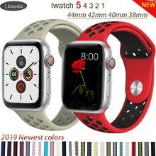 Спортивный ремешок для apple watch band 4 5 42 мм/38 мм iwatch band 44 мм/40 мм ремешок силиконовый браслет дышащий ремешок для часов серии 5 4 3 2