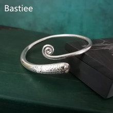 Bastiee 999 Sterling Silver Bangle For Women Bracelet Chinese Koi Carp Fish Bangles Vintage Ethnic Luxury Jewelry Adjustable uglyless real 999 silver fine jewelry women simple fashion thick bangles ethnic fish open bangle handmade engraved lotus bijoux