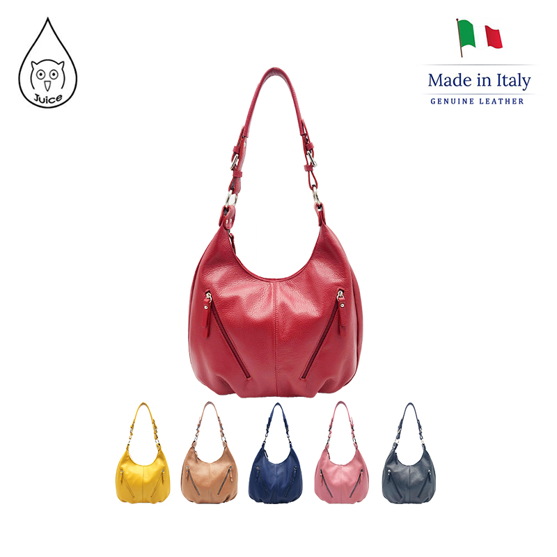 JUICE ,made In Italy, Genuine Leather,  Woman Shoulder Bag ,also With Long Strap, 112119