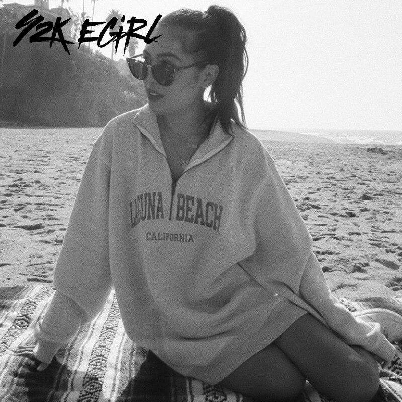 Y2k egirl 90s Модные свитшоты с буквенным принтом и полумолнией