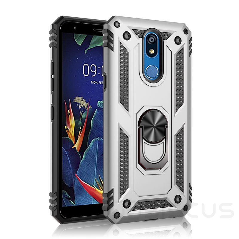 Luxury Armor Soft Shockproof Case For LG K40 K12 Plus K50 Q60 K50S K30 2019 Stylo 5 Silicone Bumper Hard Cover Metal Ring Case