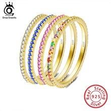 Orsa Jewels Massief 925 Sterling Zilveren Vrouwen Ringen Accessoires Micro Ingelegd Kleurrijke Zirkoon Ring S925 Zilveren Fijne Sieraden OSR63