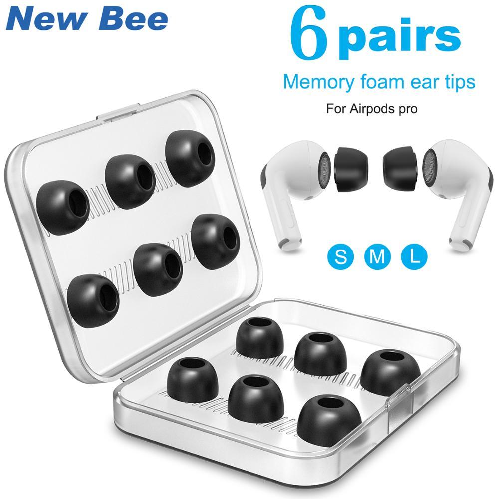 Насадки для наушников из пены с эффектом памяти для Airpods Pro, 6 пар насадок, сменные наушники для Apple Airpods Pro, наушники с коробкой
