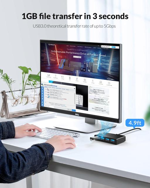ORICO USB HUB 4 Port USB 3.0 Splitter With Micro USB Power Port Multiple High Speed OTG Adapter for Computer Laptop Accessories 1