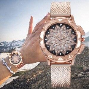 Women Watches Fashion Ladies Steel Belt Watch Wild Lady Creative Fashion Gift Fashion Women Rose Gold Flower Rhinestone Watches