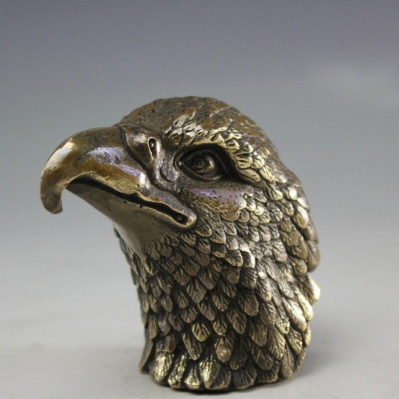 Vintage aigle en laiton Statue en métal aigle tête Sculpture artisanat maison bureau bureau décoration ornement cadeau d'anniversaire