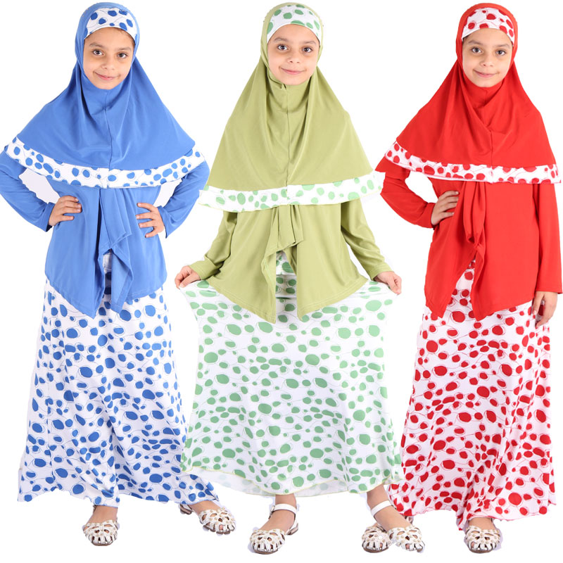 Ramadan Kids Islamic Clothing Eid Mubarak Abaya Turkey Arabic Hijab Muslim Dress Set Girls Kaftan Dubai Caftan African Dresses