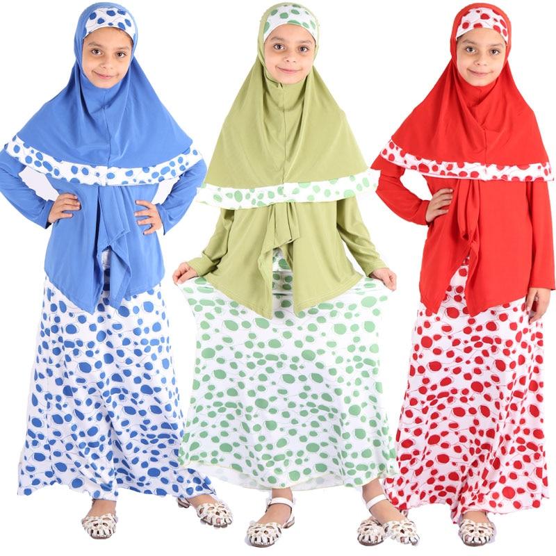 Ramadan Kids Islamic Clothing Eid Mubarak Abaya Turkey Arabic Hijab Muslim Dress Set Girls Kaftan Dubai Caftan African Dresses