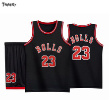 BOLLS #23 throwback Basketball jersey sets Kids jerseys high qualiy sportswear suit Kid sport vest and shorts set Quick Dry 2020