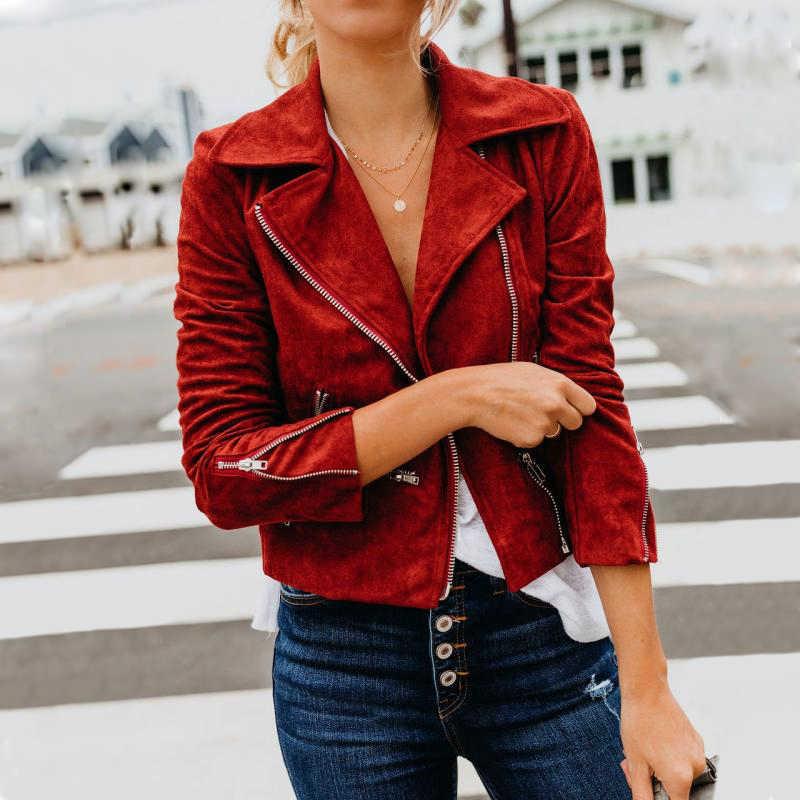 Chaqueta de terciopelo de ante de imitación para mujer chaqueta de Moto Biker Zip Up chaquetas delgadas de cuero de poliuretano de motocicleta abrigos con solapa prendas de vestir de invierno