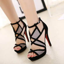 Summer High Heel Sandals Women Cross Strap Open Toe Gladiator Platform Sandal Colorblock Shoes Woman Sexy High Heels Black Cloth dorisfanny open toe thin heel women s sandals 2017 summer gladiator woman shoes sexy high heels sandals us size 3 5 14