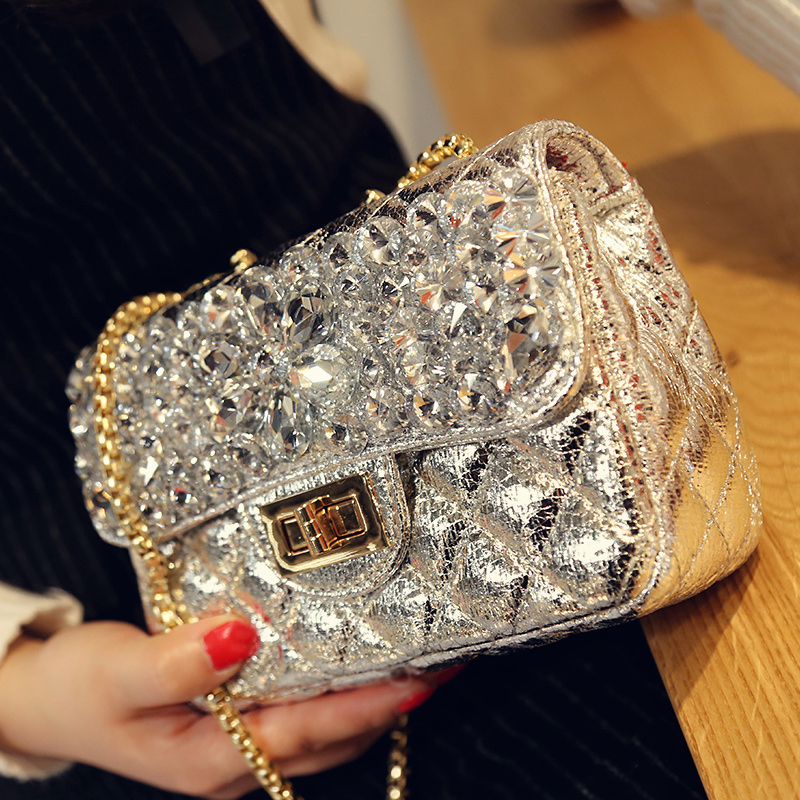 Women small Chain Evening Bags Ladies Leather Dinner Party clutch Purse Messenger Bags Bling diamonds shoulder Handbags