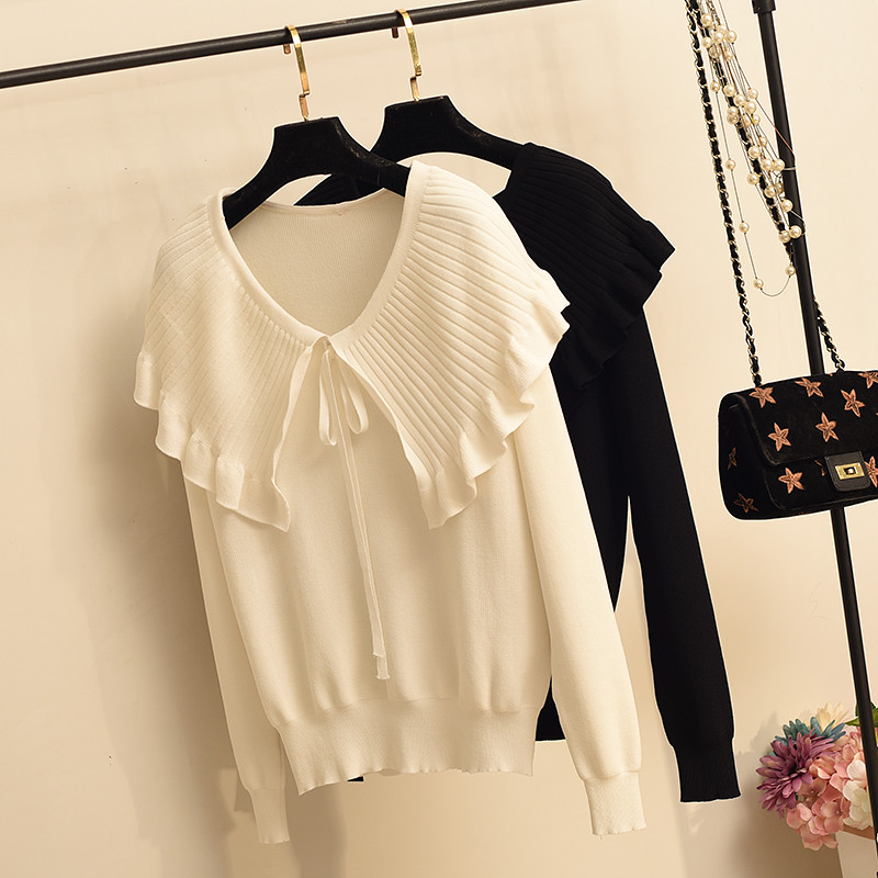Peter Pan Collar Pleated Knit Shirt Sweater Women's Ice Silk Pullover Tops Fashion Long Sleeve Black Thin Knitted Shirts Sweater