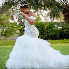 Vestidos De Novia أحدث فستان زفاف دانتيل حورية البحر كم قصير مخصص حجم كبير فستان عروس الزفاف تنمو المحكمة القطار