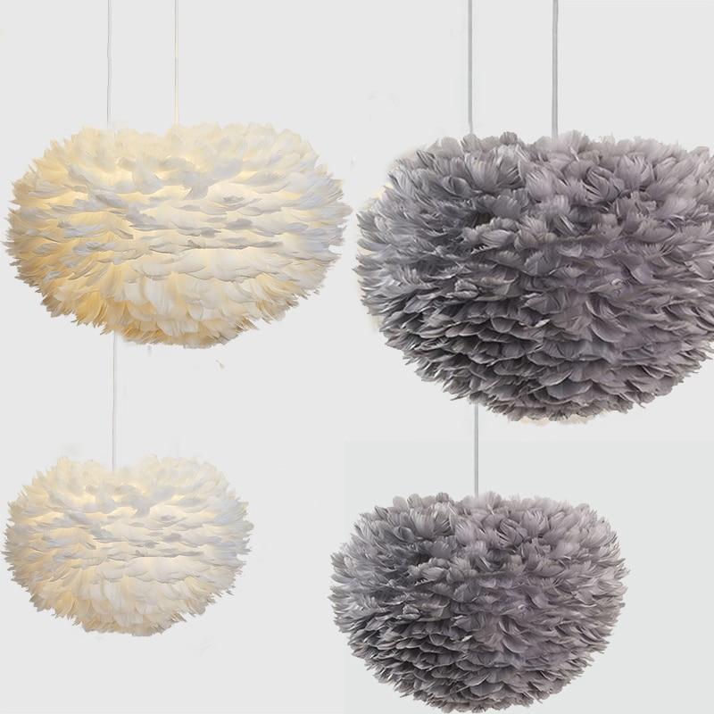 Pendant Lights White Feather E27 Plume Lights Led  Art Decorative  Droplight  Romantic Bedroom Hanging Lamp Nature Goose Feather