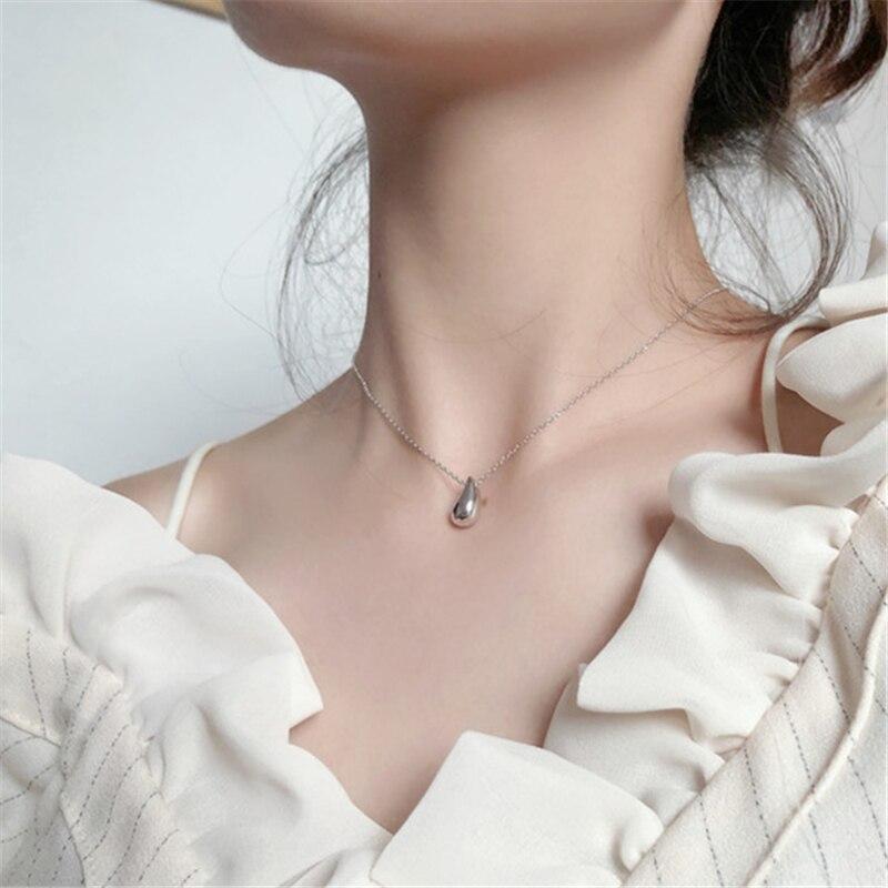 HUANZHI 2020 новая ниша французский простая Капля воды в горошек золото ключица цепочка ожерелье для женщин и девочек вечерние ювелирные изделия