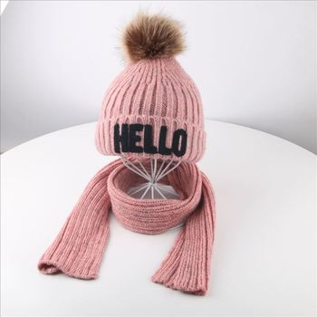 3-10yrs Letters Kids Scarf And Hat Set Fleece Lined Warm Winter Hat Set For Girls Boys Red Yellow Grey Pink Black