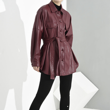 LANMREM 2020 Turn-down Collar Wine Red Full Sleeves Single Breasted PU Leather High Waist Leather Jacket Female WH29201 Red cheap WOMEN JERSEY Streetwear COTTON Trench Button Solid Long Ages 18-35 Years Old A-Line WH29203S spring autumn