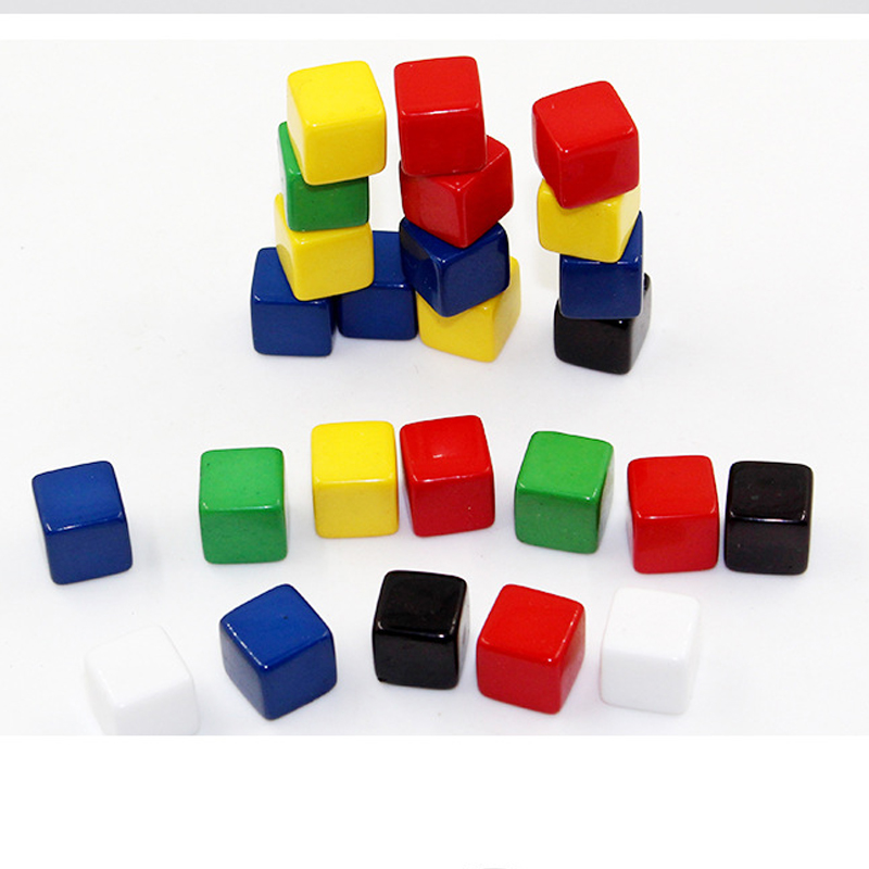 100Pcs/set Blank Square Corner Colorful Crystal Dice Chess Piece Right Angle Sieve Cube For Puzzle Game 8mm