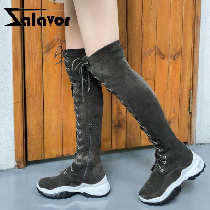 ZALAVOR Women Style Real Leather Over Knee Boots Winter Round Toe Thick Sole Fashion Sexy Shoes Woman Footwear Size 34-40