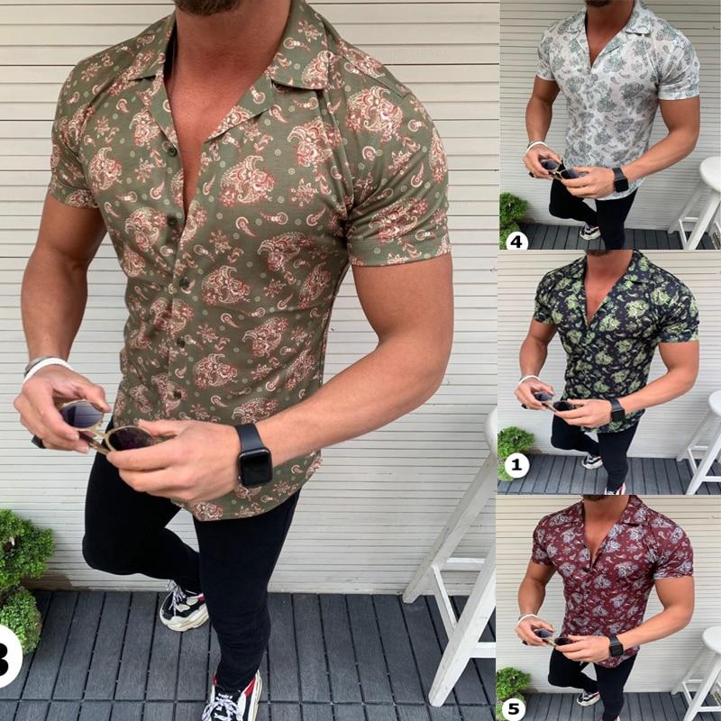 Fashion Shirts For Men Short Sleeve Floral Print Shirt Summer Shirts Men Dress Camisa Button Lapels Collar Male Turn Down Collar