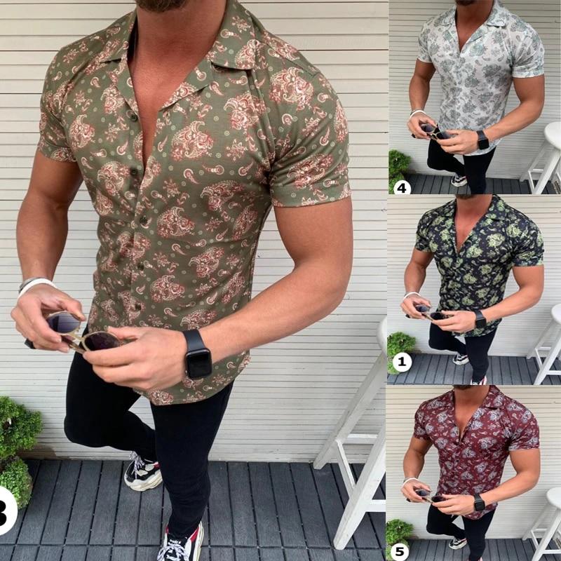 UK/_ LC/_ Fashion Men Floral Print Casual Summer Long Sleeve Shirt Lapel Collar Sl