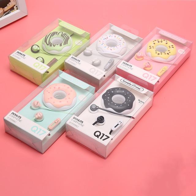 1pcs 3.5mm In Ear Cute Earphones  Macarons Donut Cartoon Earphone Q17 White/Pink/Green/Blue/Black/Mint Green Portable Earplug
