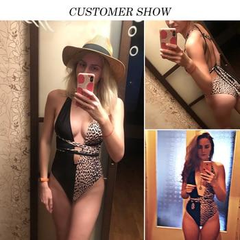 Peachtan Leopard print one piece swimsuit female Deep v-neck bikini 2020 Bandage bathing suit monokini swimwear women bathers 8
