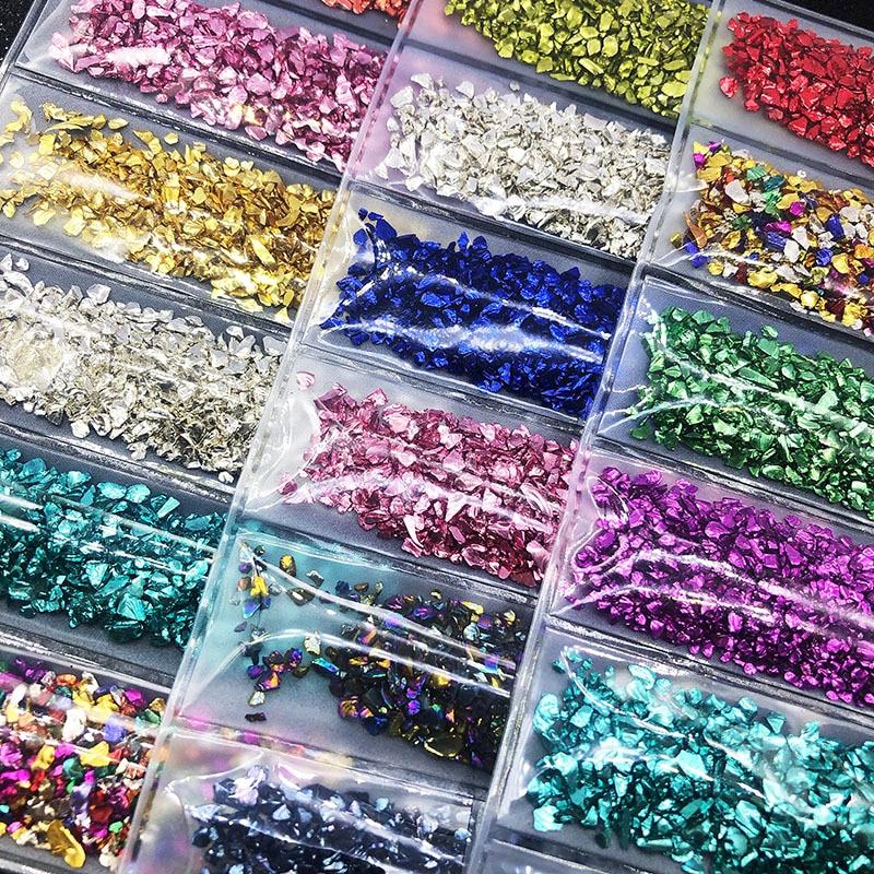 Résine de remplissage de pierres de verre cassées ensemble de cristal UV époxy résine de remplissage bricolage artisanat Nail Art fabrication de bijoux moule garnitures résine bricolage