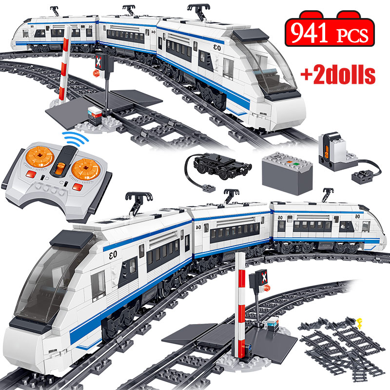 941pcs City Technic Building Blocks Legoing RC Electric Train Harmony High-speed Rail Track Car Brick Figures Toys For Children