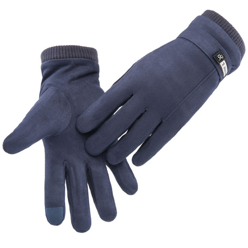 New Winter Men Sports Plus Plush Thick Warm Cashmere Cycling Riding Mittens Elastic   Suede     Leather   Touch Screen Driving Glove C62