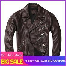 2020 Dark Brown Men American Style Motorcycle Leather Jacket Plus Size XXXXL Genuine Sheepskin Autumn Slim Fit Biker's Coat недорого
