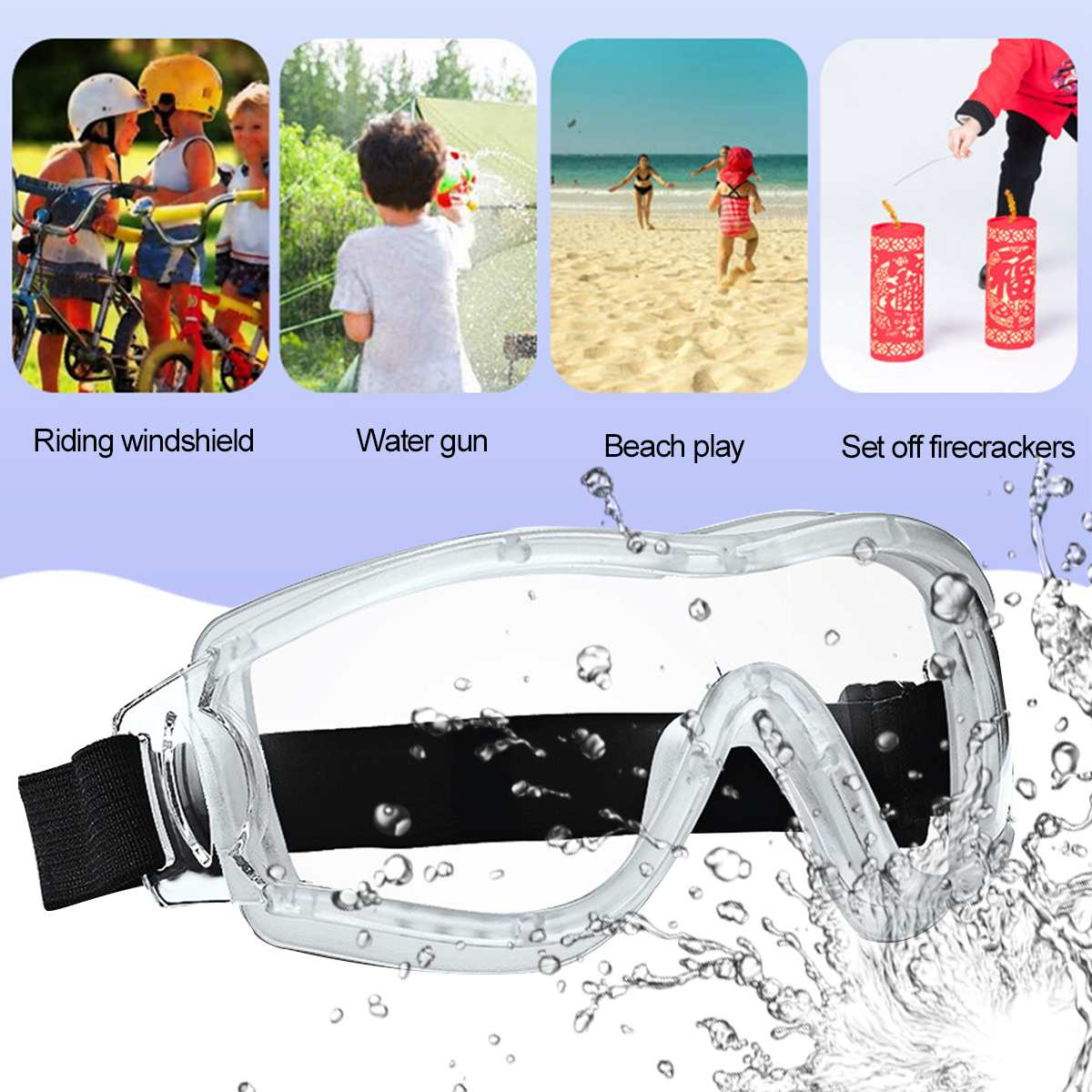 Children Transparent Protective Safety Glasses Work Eye Anti-Fog Antisand windproof Anti Dust Goggles Eye Protection for Kids