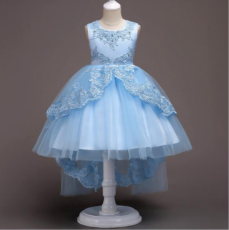In Stock Cheap Tulle   Flower     Girl     Dress   for Special Occasion with Lace Appliques Bow Beading   Girls   Birthday Party Gown Sleeveless