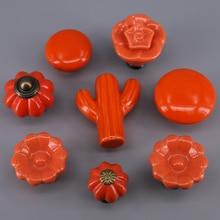 1 unidad nueva perilla de gabinete de cerámica naranja armario Puerta de vestidor cajón tirador de muebles chico manija con tornillo