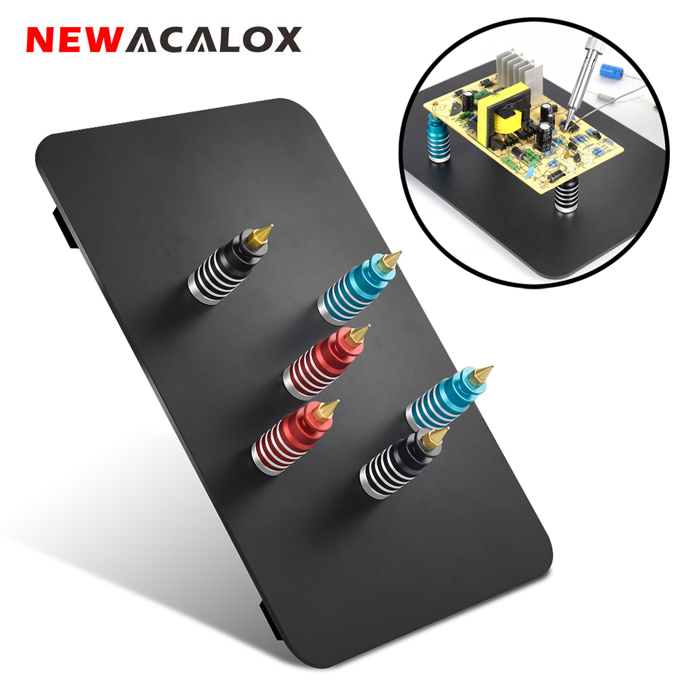 NEWACALOX Soldering PCB Clip Welding Helping Hands 6PC Magnetic Base PCB Fixture Clamp Third Hand Tools Soldering Repair Tool
