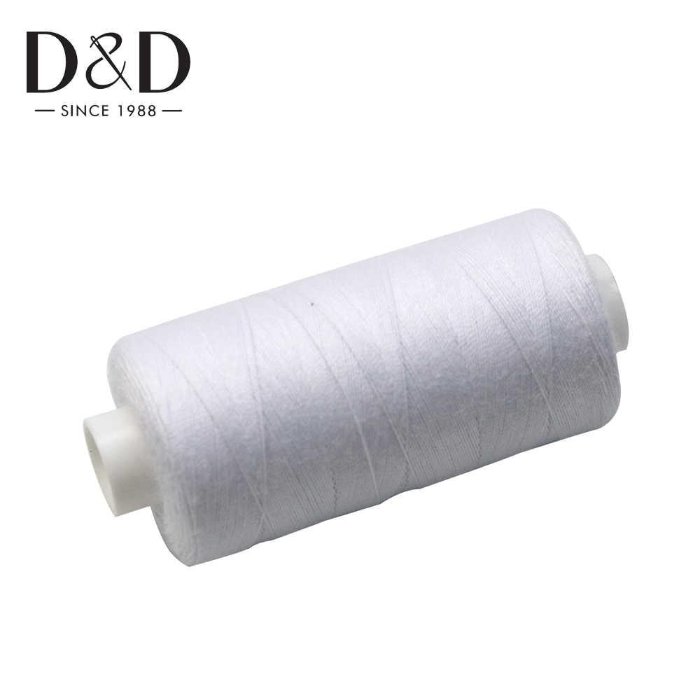 2 uds 500M hilo de coser hilo de poliéster fuerte y duradero negro blanco hilos de coser para máquinas de mano