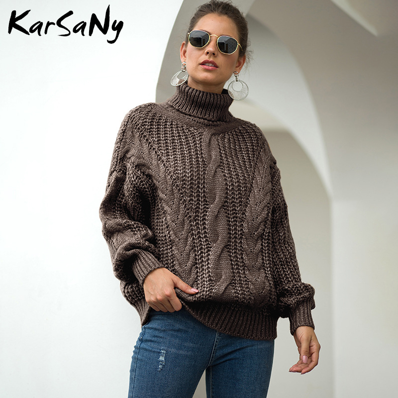 KarSaNy Womens Turtleneck Oversized Sweater Jumper Winter 2019 Loose White Turtleneck Sweater Coarse Knitted Vintage Sweaters