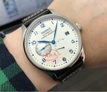 ספיר קריסטל 43mm PARNIS לבן חיוג פאוור רזרב אוטומטי עצמי רוח מכאנית תנועה אוטומטי תאריך גברים של שעון pa010 20