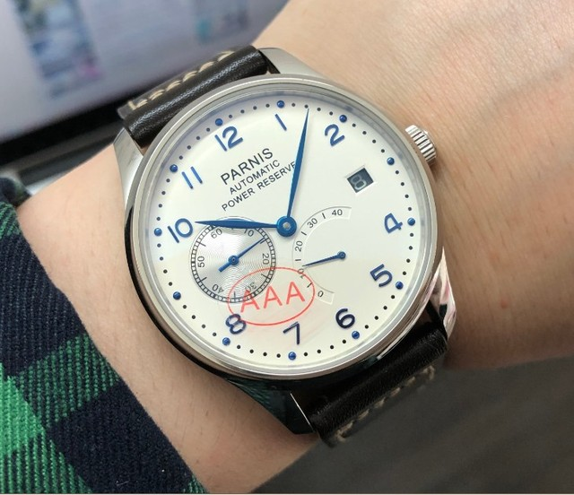 Safira cristal 43mm parnis branco dial reserva de energia automático auto vento movimento mecânico data automática relógio masculino pa010 20