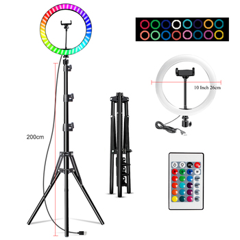 10 Inch Led Ring Light Usb RGB Ringlamp USB Light Ring Photo Selfie Lamp with Remote Phone Stand for Streaming Video Photography 10