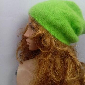 LOVELYDONKEYwomen Plush mink cashmere Ladies hand knitting hats Winter warm knitting cap free shipping  M1114