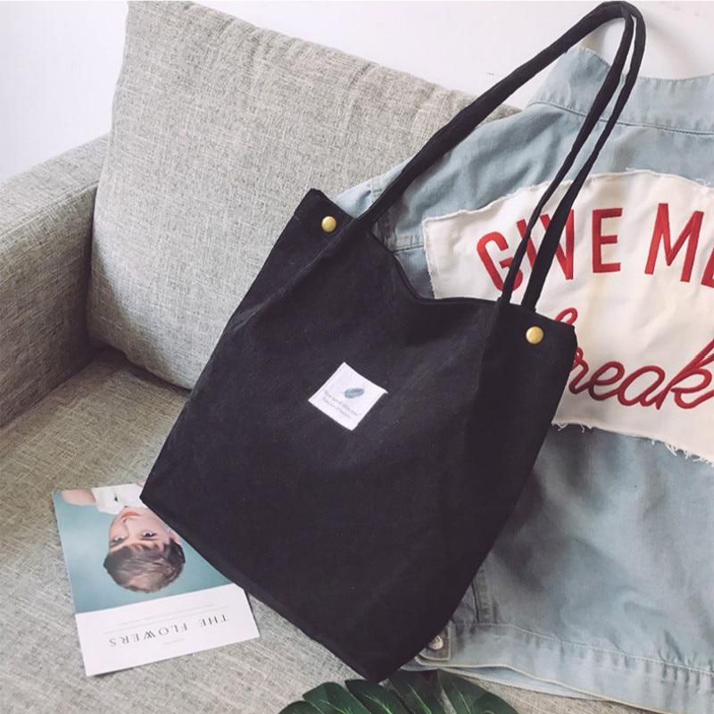 Women Corduroy Shopping Bag Female Canvas Cloth Shoulder Bag Environmental Storage Handbag Reusable Foldable Eco Grocery Totes 5